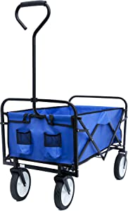 Folding Wagon Collapsible Utility Outdoor Camping Beach Garden Cart Heavy Duty Portable Shopping Cart with Wheels and Adjustable Handle