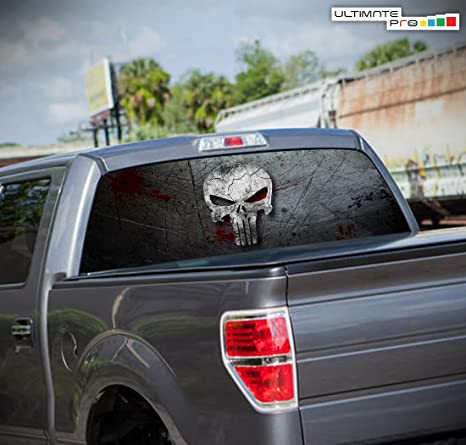 Truck Back Window Decals >> Punisher Skull Perforated Graphic Decal For Pickup Truck Rear Window 53 X 14