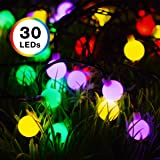 Solar Powered String Lights, DecorNova 13 Feet 30 LED Waterproof Globe String Lights for Christmas Patio Garden Outdoor Holidays Parties, Multi Color