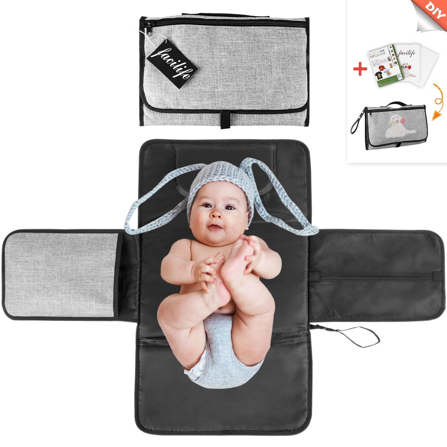 Portable Changing Pad Kit for Infant Baby with DIY Transfer Paper for Shower Gift Changing Mat with Head Cushion Lightweight Waterproof Foldable Travel Clutch Home Diaper Changing Station