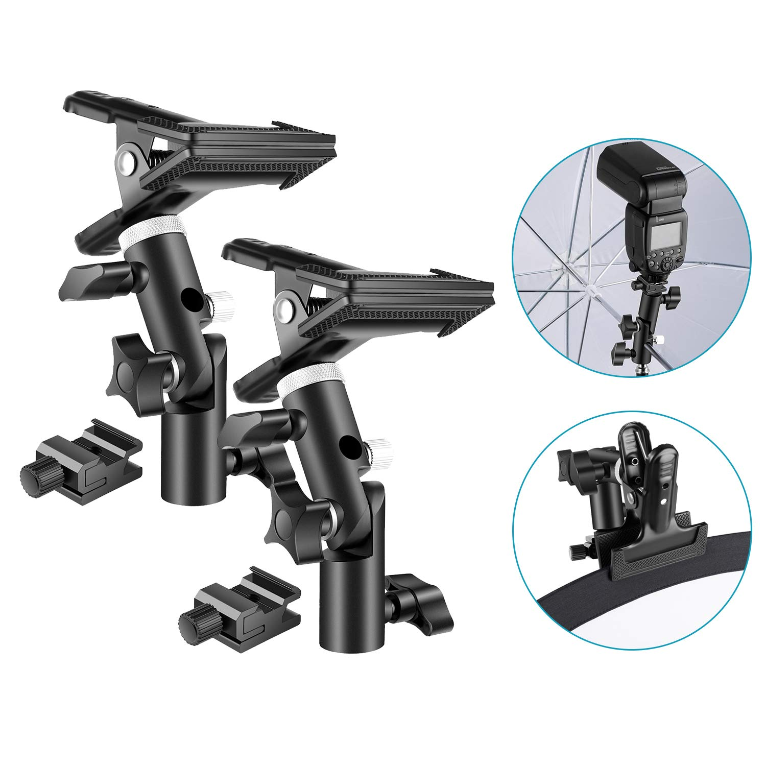 Neewer 2-Pack Photo Studio Heavy Duty Metal Clamp Holder and Cold Shoe Adapter for Clamping Reflector or Mounting Speedlite Flash and Umbrella on Light Stand by Neewer