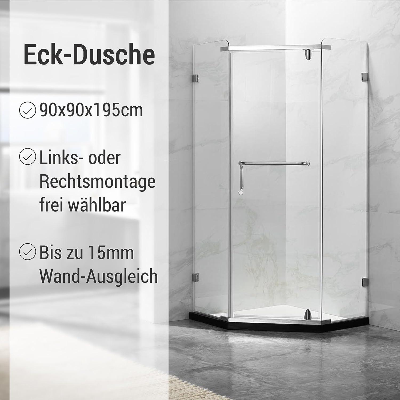 Deluxeshower Duschkabine 90 x 90 x 195 cm, für Eck-Dusche, 8mm ...
