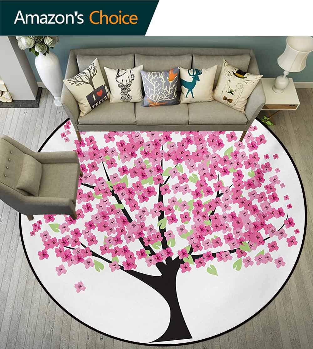 RUGSMAT Nature Computer Chair Floor Mat,Cherry Blossom Lonely Tree Asian Japanese Gardening Theme Sakura Blossoms Printed Round Carpet for Children Bedroom Play Tent,Diameter-71 Inch by RUGSMAT (Image #1)
