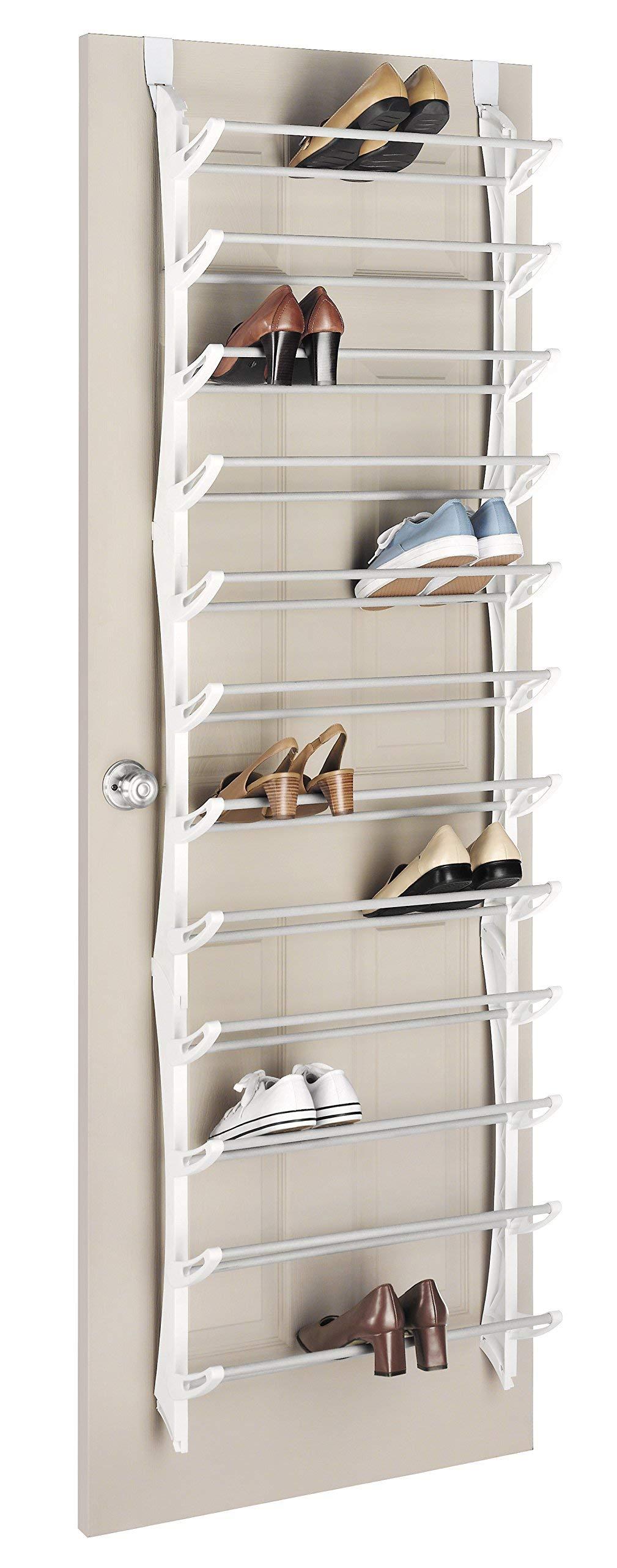 Whitmor Over The Door Rack-36 Fold Up Non Slip Bars Shoe Rack, 36-Pair, White (Renewed) by Whitmor