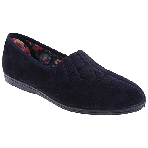 Amazon.com | Sleepers Womens/Ladies Zara Fan Stitch Wide Fitting Slippers | Slippers