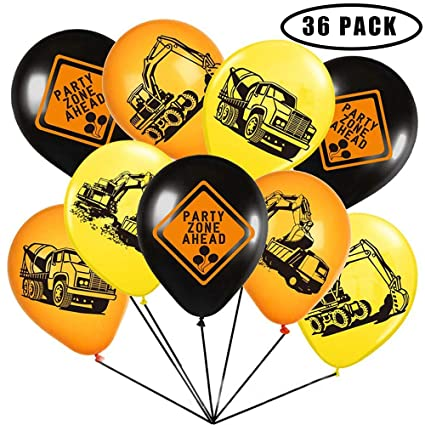 Construction Theme Party Supplies12 Inch Large Latex Helium Balloons For Kids