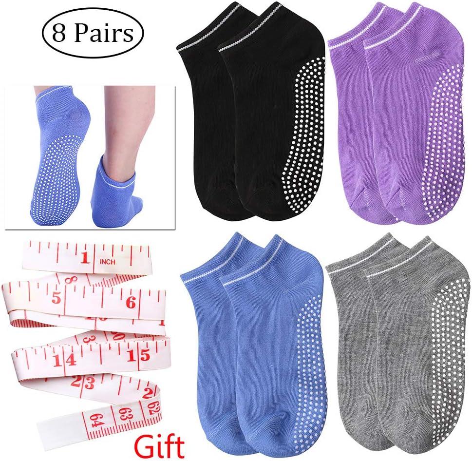 Fitness Danse 8 Pack Akwind Chaussettes de Pilates Yoga Chaussettes Antid/érapantes Femmes en Coton pour Pilates