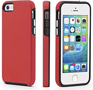 CellEver iPhone 5/5s/SE (2016 Edition) Case, Dual Guard Protective Shock-Absorbing Scratch-Resistant Rugged Drop Protection Cover for iPhone 5/5S/SE 2016 (Red)