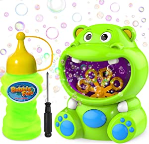 WisToyz Bubble Machine Bubble Blower Hippo Bubble Toys with Bubble Solution Cute Bubble Machine for Kids Toddler Toys Auto Bubble Maker 500+ Bubbles Per Minute, Easy to Use 2 x AA Batteries Needed