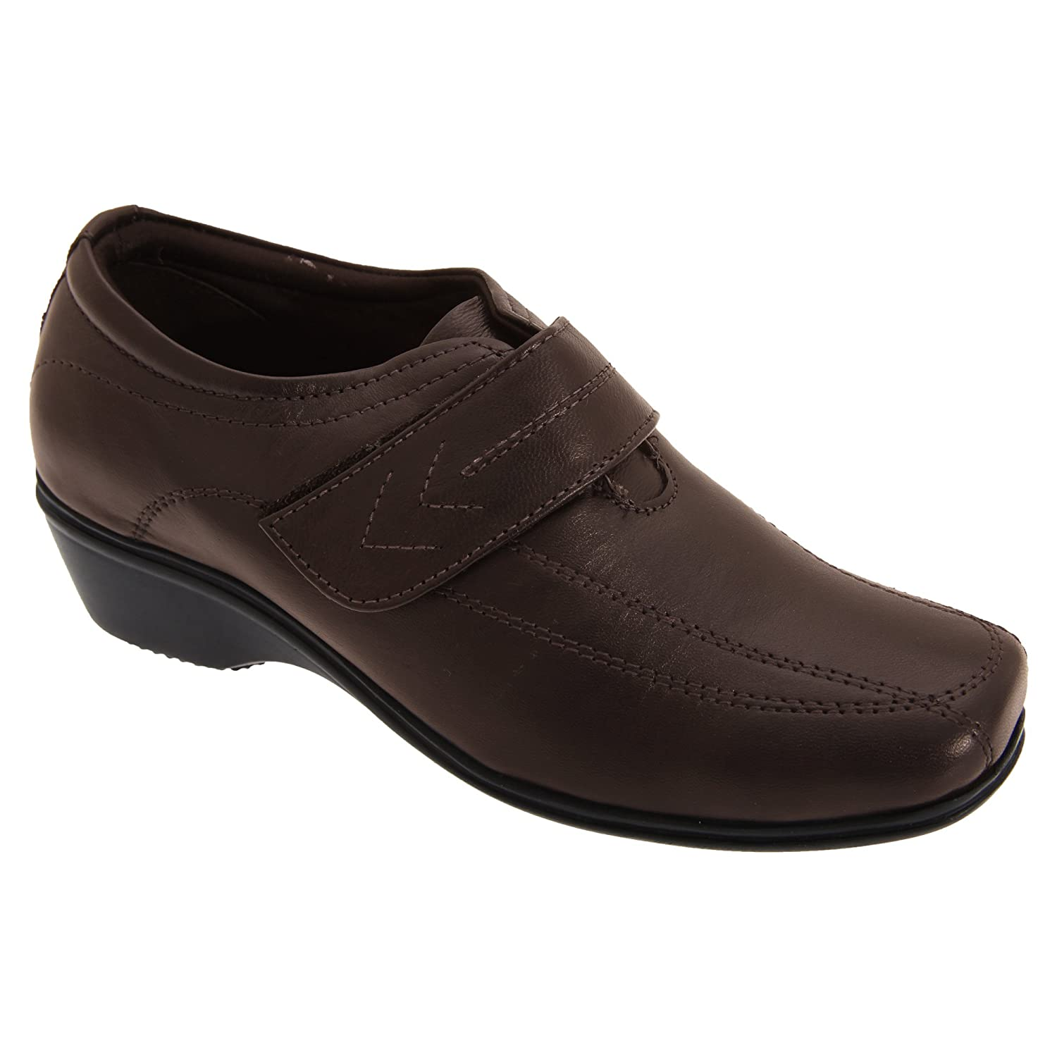 Mod Comfys Womens//Ladies Touch Fastening Softie Leather Casual Shoes