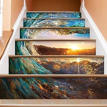 Pegatinas Escaleras Escalera 3D Etiqueta de la onda ...