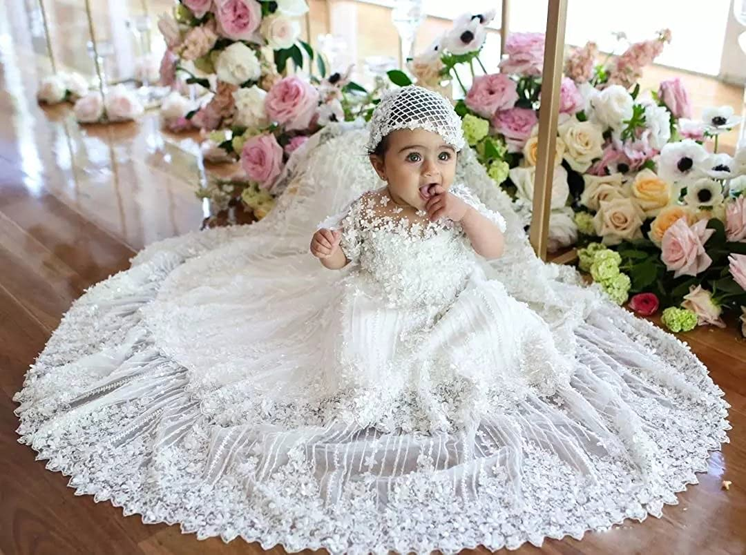 Aorme Long Flowers Beads Lace Christening Gown for Girls with Hat