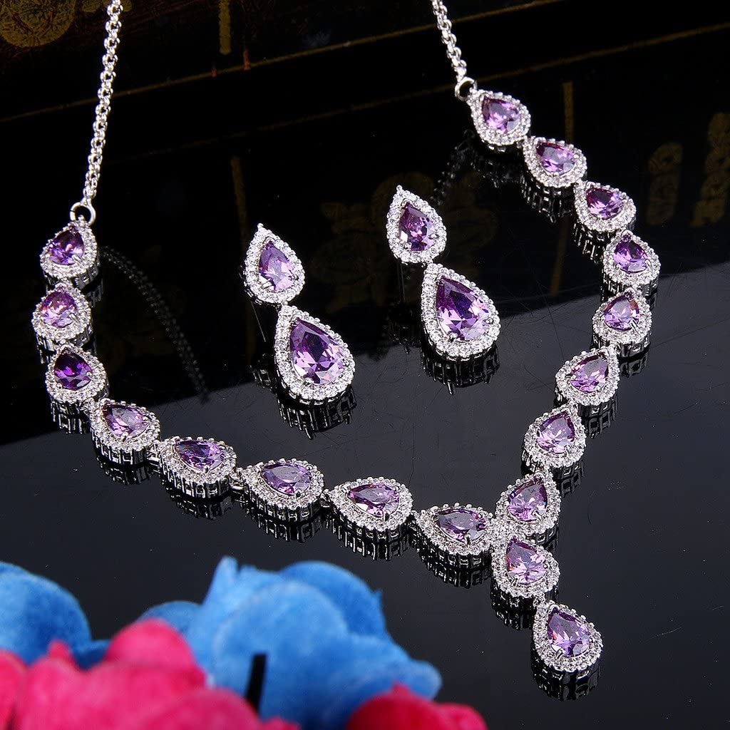 Clearine Womens Fashion Wedding Bride Crystal Infinity Figure 8 Teardrop Y-Necklace Dangle Earrings Set