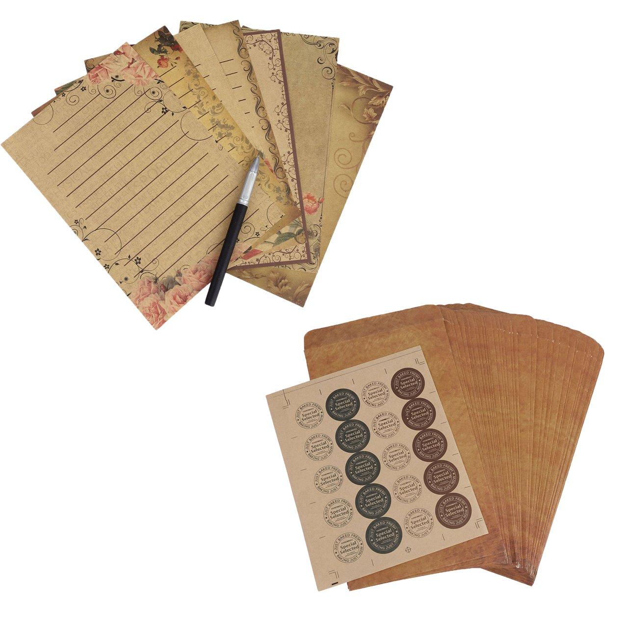 Mogoko Briefpapier-Set, Vintage, Retro, quadratische Briefumschläge Retro Brown (kraft) quadratische Briefumschläge Retro Brown (kraft) MMUS2016884