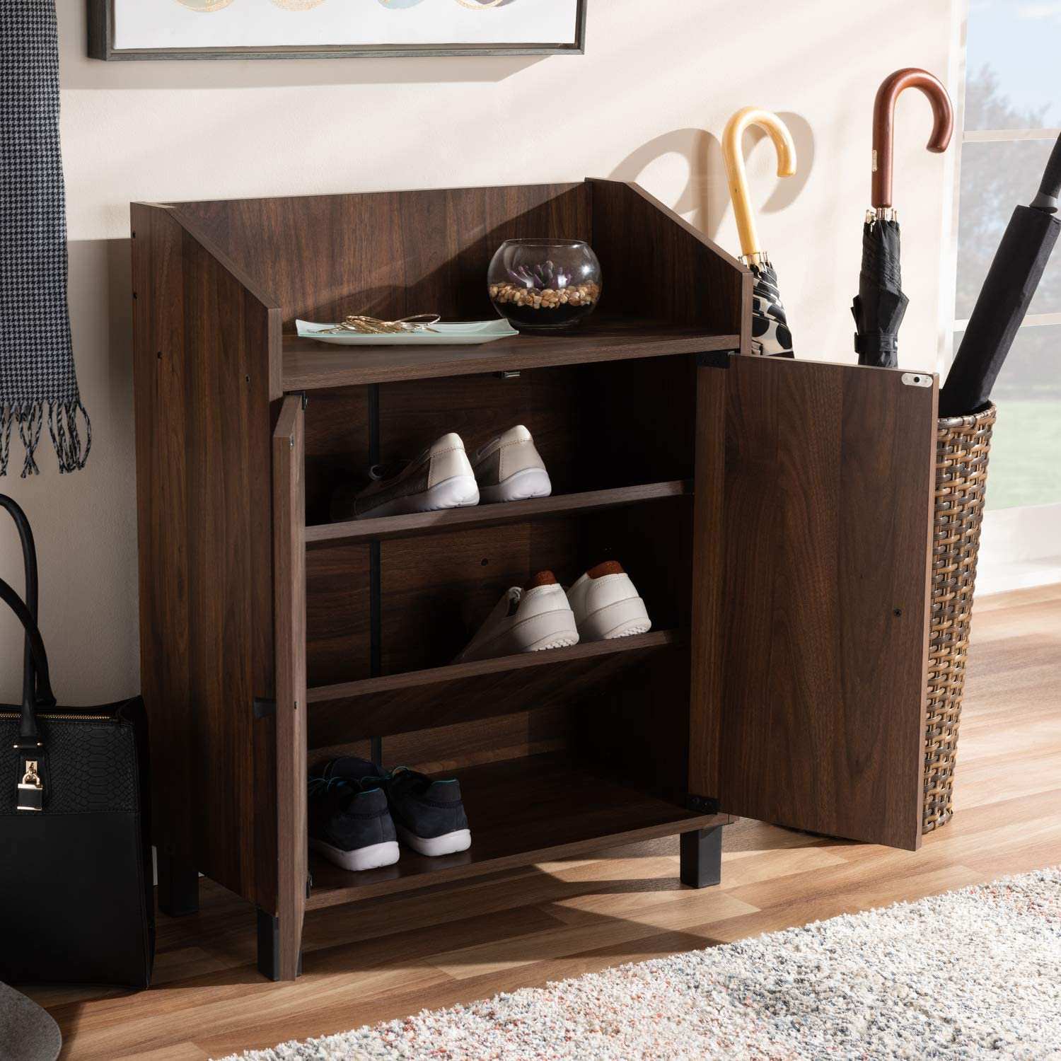 Amazon Com Baxton Studio Rossin Modern And Contemporary Walnut Brown Finished 2 Door Wood Entryway Shoe Storage Cabinet With Open Shelf Office Products
