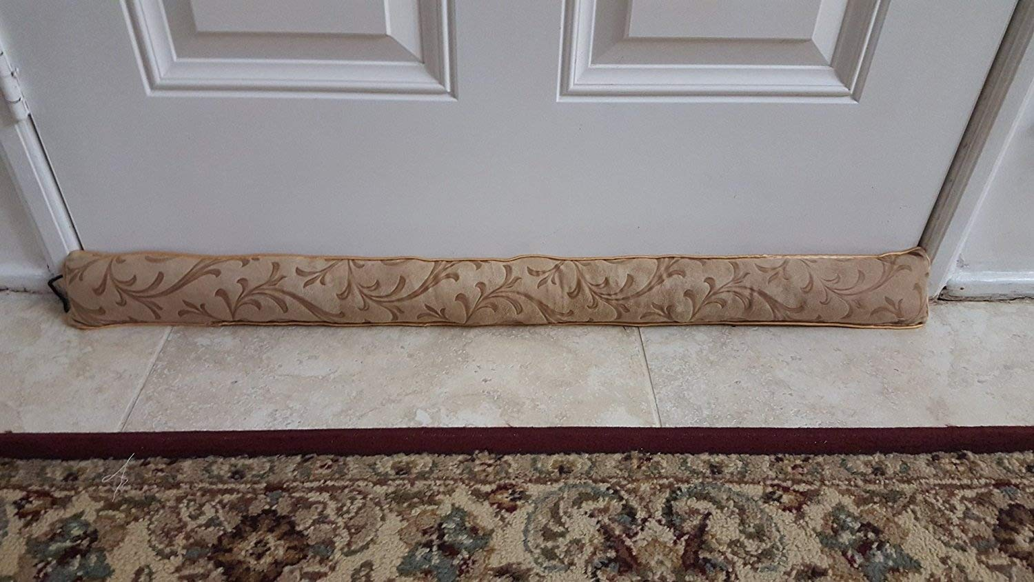 Monikas Marketplace Handmade 37-Inch Under-Door Draft Stopper (1.4 lbs.) with Hanging Cord and Storage Bag, Brown 4335414256