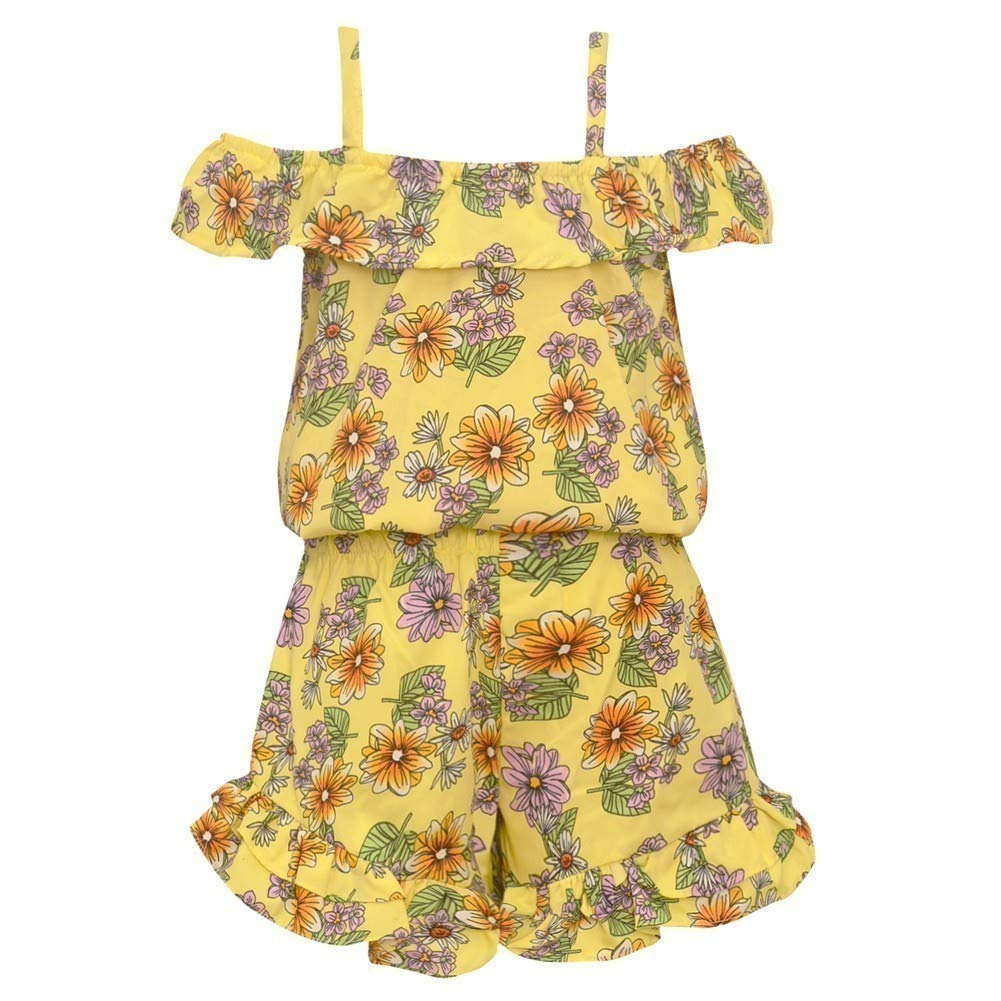 Little Girls Yellow Floral Print Off-Shoulder Strappy Ruffle Romper 4-6X