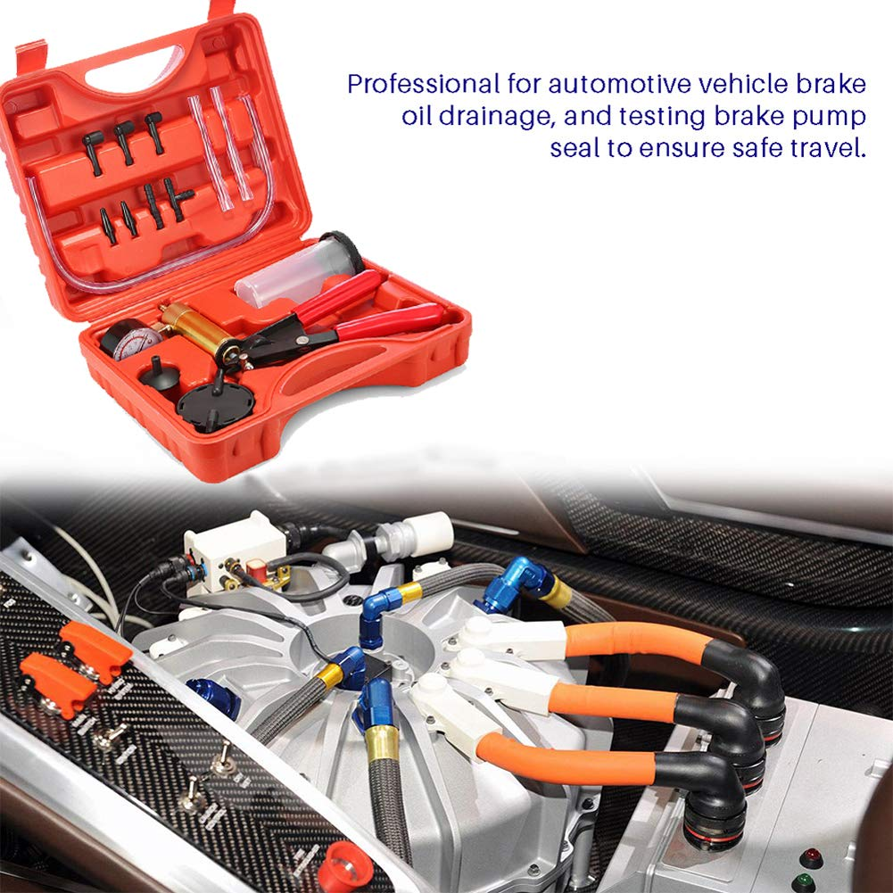 Beduan 15 Pieces Hand Held Vacuum Pump Tester Set Brake Bleeder Kit with Adapters for Automotive