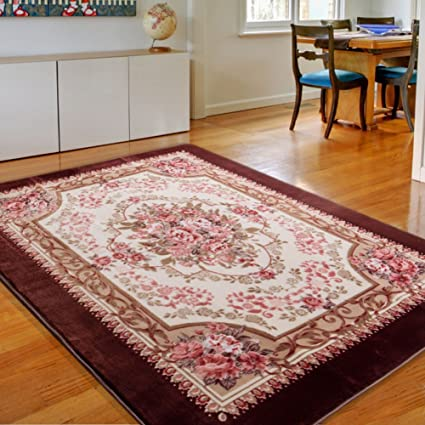 Amazon.com: MeMoreCool Area Rugs Roses Coffee European Style Living ...
