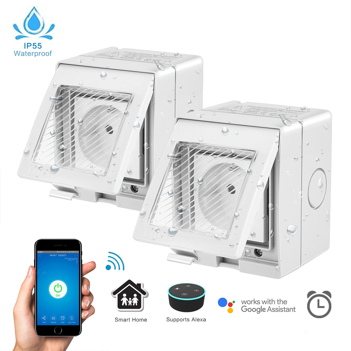 Outdoor Wasserdichte WiFi Smart Steckdose Set mit Amazon Alexa und ...