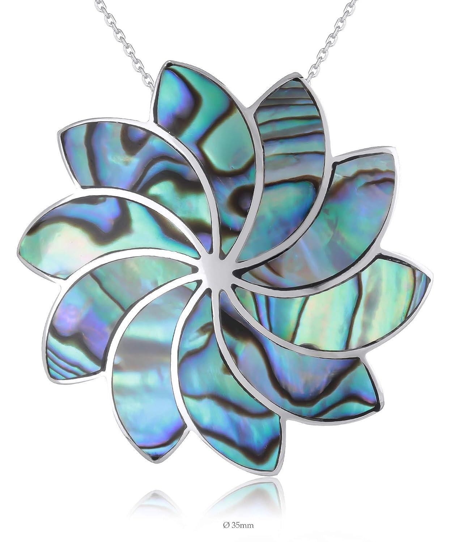 Adens Jewels Pendentif Fleur de Tournesol de Nacre Abalone serti dargent