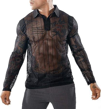 MPY- Mens Sweaters Camisa de Manga Larga de Malla ...