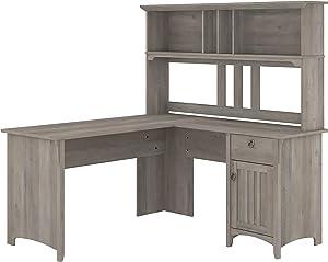 Bush Furniture Salinas L Shaped Desk with Hutch, 60W, Driftwood Gray