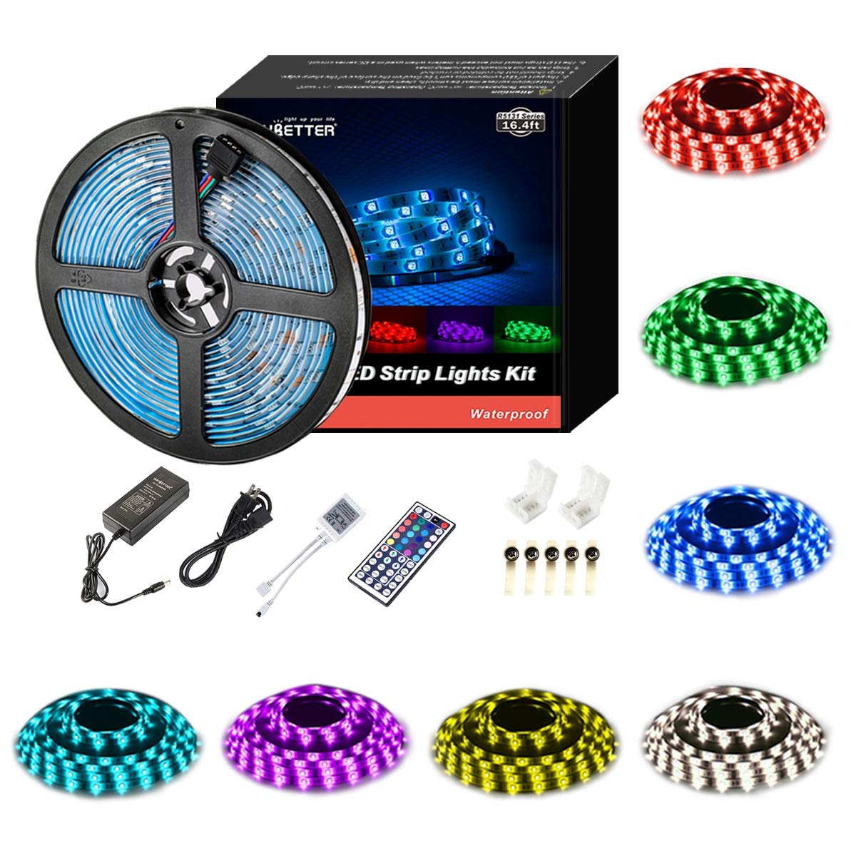 Led Strip Lights Waterproof 16.4ft 5m Waterproof Flexible Color Changing RGB SMD 5050 150leds LED Strip Light Kit with 44 Keys IR Remote Controller and 12V Power Supply
