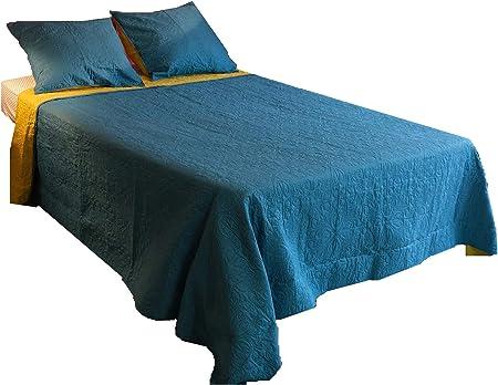 2 Housses Coussin 40 x 40 cm Couleur au Choix Bleu 2 Taies doreiller 50 x 70 cm L22G Couvre lit 7 pi/èces 230 x 250 cm 2 Taies d/'Oreiller 63 x 63 cm