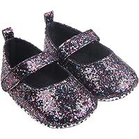 Halau Toddler Baby Girl Soft Sole Mary Jane Crib Shoes Glitter Anti-slip Princess First Walker