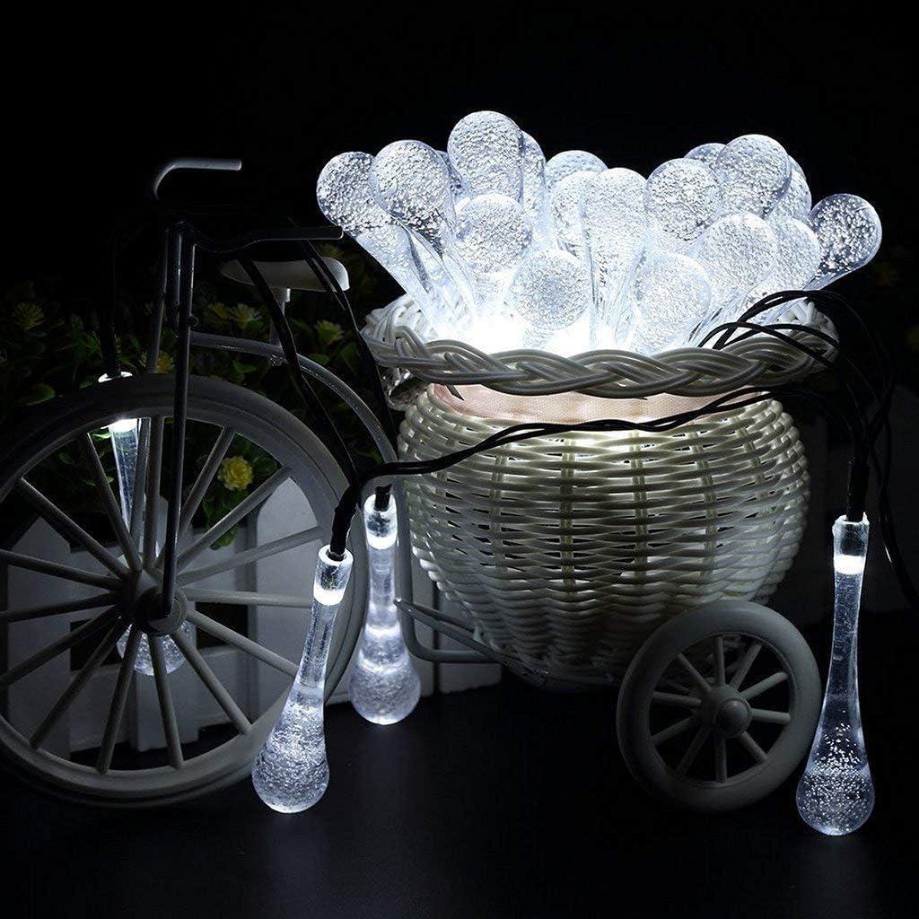 WEHOLY Außenleuchte Solar Lichterketten, 4,85 M 20LED Solar Wassertropfen Außenlichterketten Wasserdicht für Außen-, Garten-, Weihnachtsdekorationen (Mehrfarbig) White