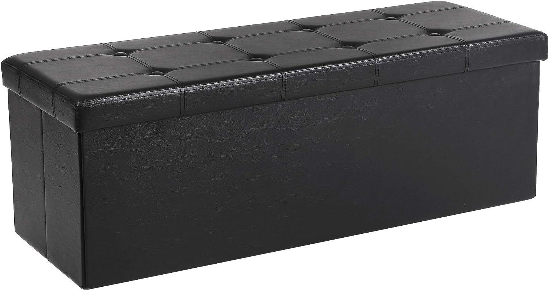 Songmics Baúl Puff - Taburete para almacenaje, Plegable Carga máxima de 300 kg, Negro, 110 x 38 x 38 cm
