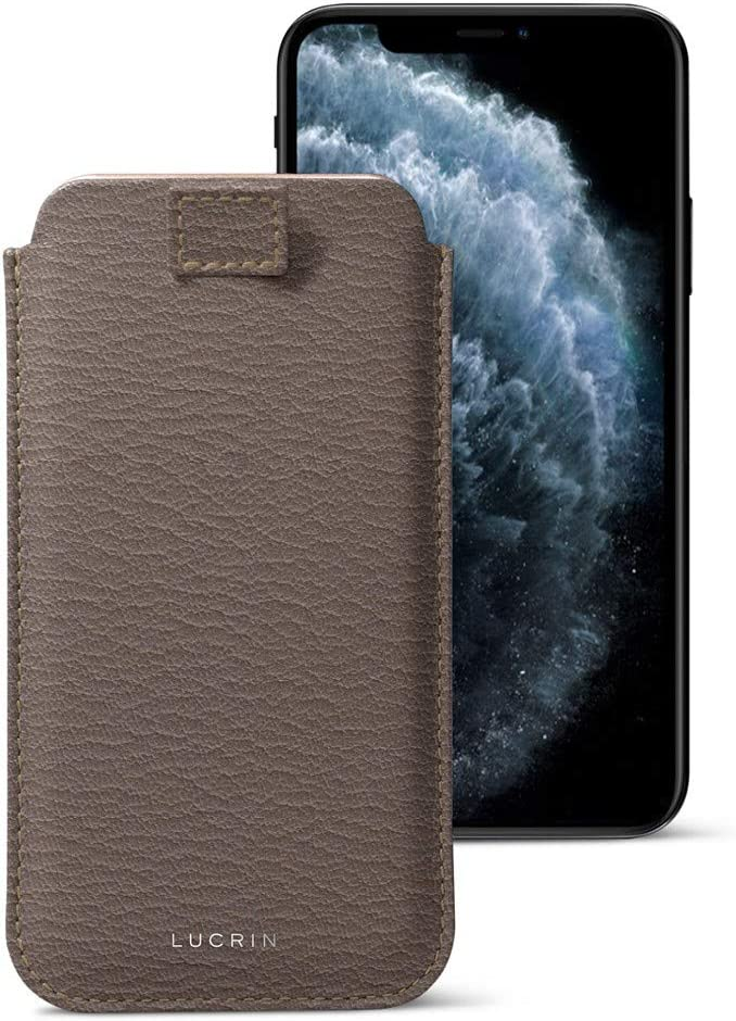 Lucrin - Pull Tab Slim Sleeve Case Compatible with iPhone 11 Pro/iPhone Xs/iPhone X and Wireless Charging - Dark Taupe - Goat Leather