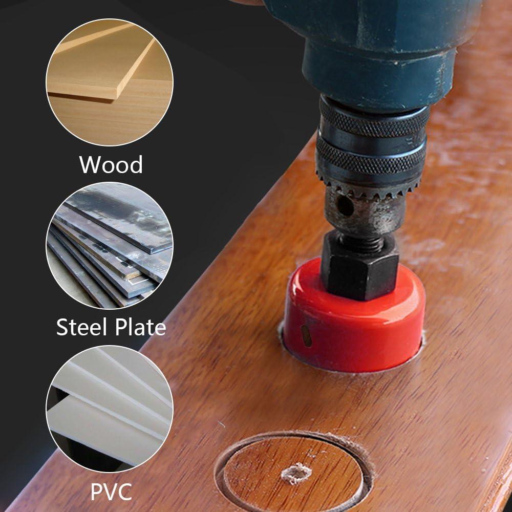 80//100//120 MM M42 Scie-Cloche Bim/étal HSS Fraise avec Tige pour Tuyau en Aluminium Bois Fer Plastique Rouge 120MM