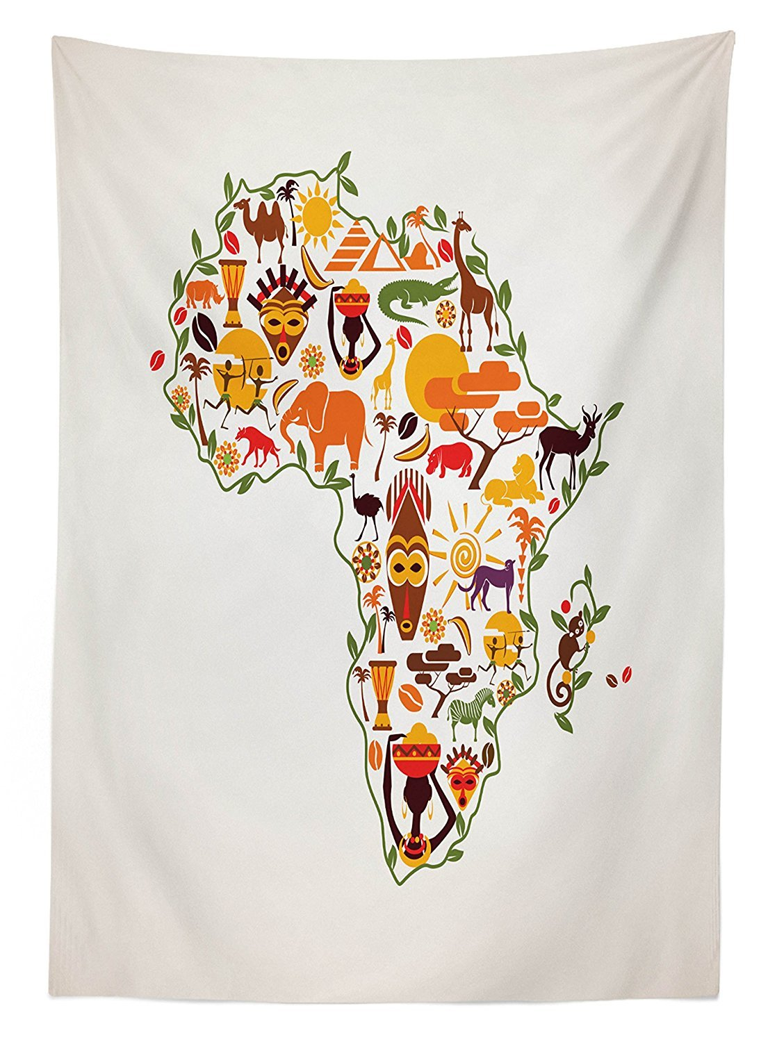 vipsung African Decorations Tablecloth Africa Travel Map Plan Traditional Objects Continental Ethnic Culture Arts Craft Print Dining Room Kitchen Rectangular Table Cover