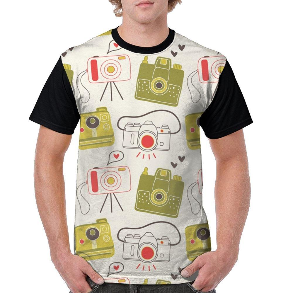 CKS DA WUQ Camera Sticker Men's Raglan Short Sleeve Tops T-Shirt Comfort Undershirts Baseball Tees by CKS DA WUQ