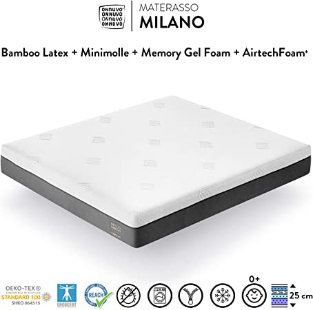 Meglio Materasso In Lattice Oa Molle.Onnuvo Materasso New Gel Memory Foam Alta Densita 60 65 Kg M3
