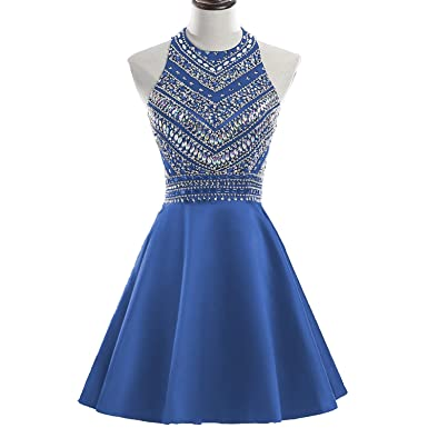 f8c3928400 HEIMO Women s Sparkly Beaded Homecoming Dresses Sequined Prom Gowns Short  H212 0 Blue