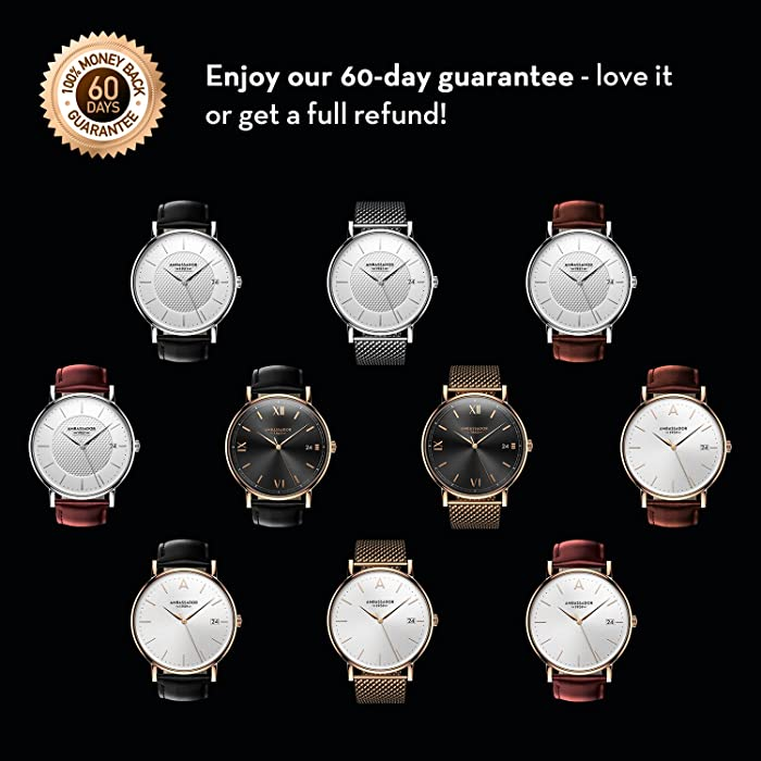 601f5bb3992 ... Ambassador Luxury Watch for Men - Designer Heritage 1959 Gold Case with  Brown Leather Strap and ...