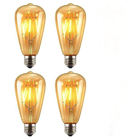 Paquete de 4 Unidades Iluminación Vintage, VSOAIR 4 Bombillas LED 6W con ST64 Vendimia Edison