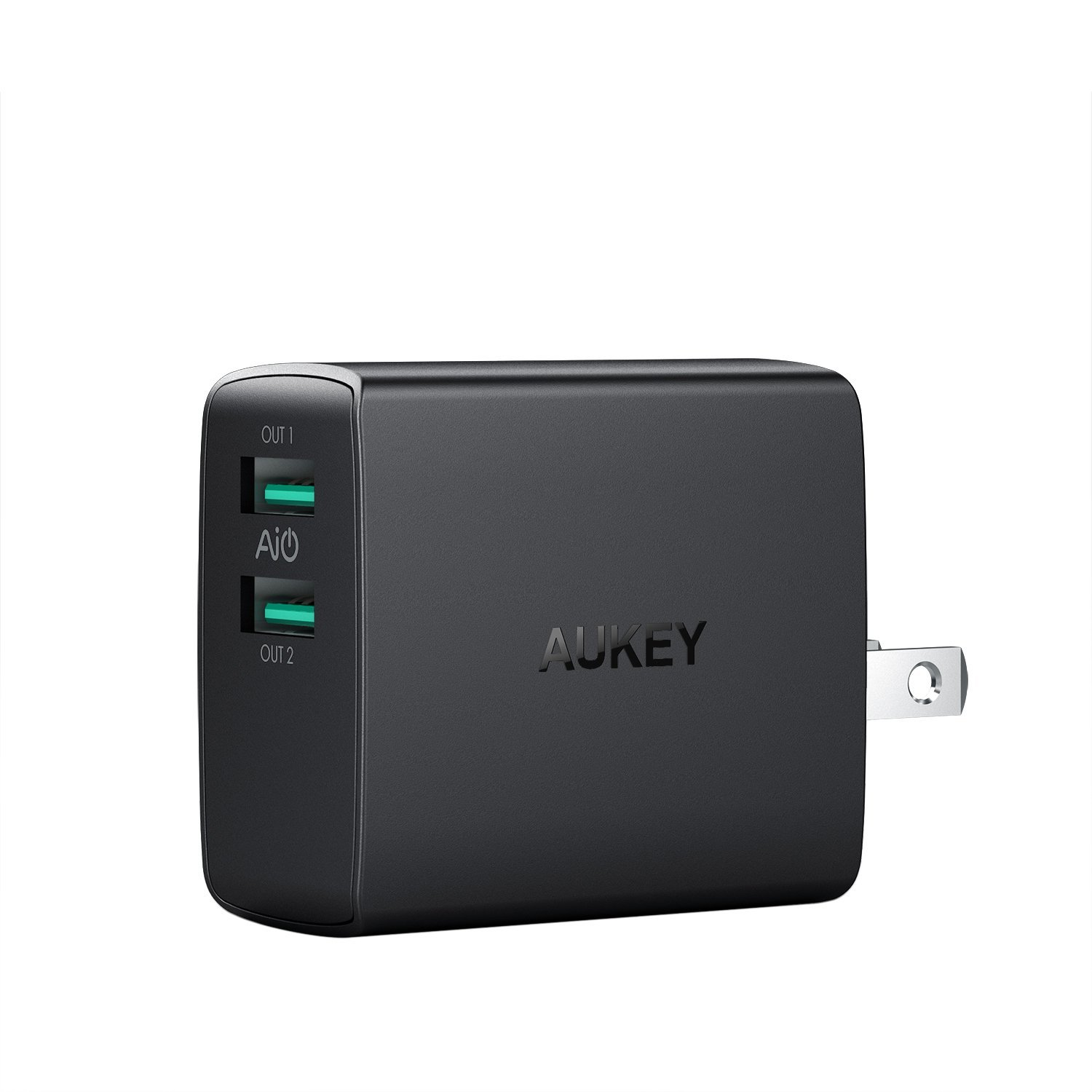 AUKEY USB Wall Charger, ULTRA COMPACT Dual Port 4.8A Output & Foldable Plug for iPhone X/8/7/Plus, iPad Air 2, Kindle Fire and More