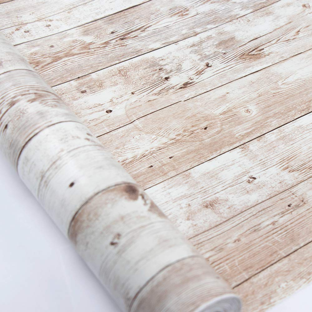 "Wood Contact Paper 17.71"" X 32.8 Ft Self-Adhesive Removable Wood Peel and Stick Wallpaper Decorative Wall Covering Vintage Wood Panel Interior Film Leave No Trace Surfaces Easy to Clean"