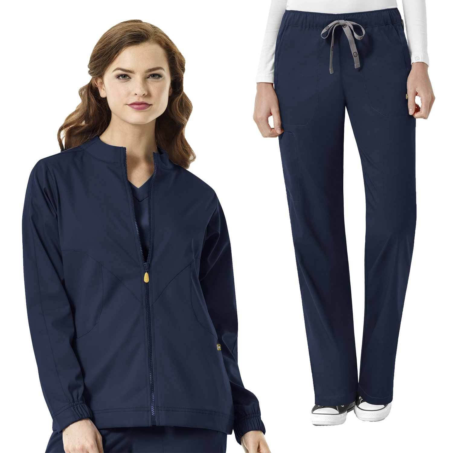 WonderWink Next Women's Boston Zip Front Warm Up Scrub Jacket & Drawstring Cargo Pant Set + FREE GIFT