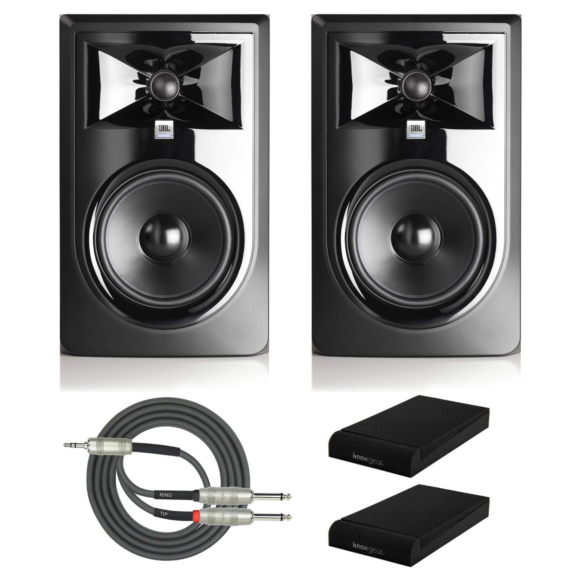 JBL 305P MkII Powered 5'' Two-Way Studio Monitors (Pair) with Knox Gear Isolation Pads and Breakout Cable Bundle