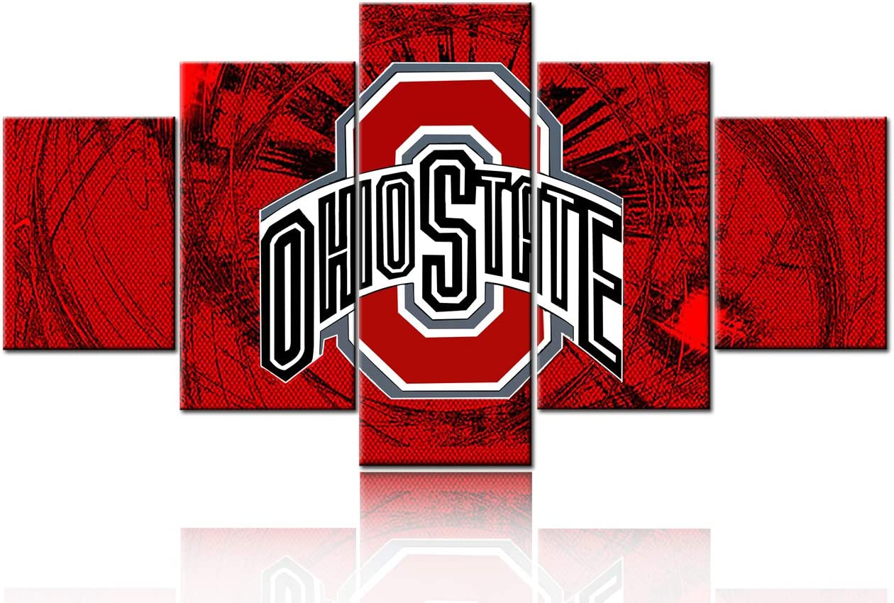 Sports Room Decor The Ohio State Buckeyes Football Pictures for Living Room NCAA Paintings 5 Panel Canvas Wall Art Canvas Contemporary Artwork Home Decorations Framed Ready to Hang(60''Wx32''H)