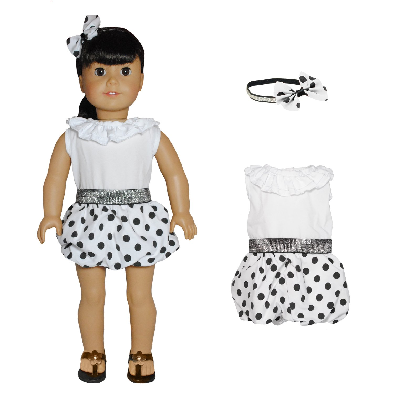Pink Butterfly Closet Doll Clothes Our Generation and other 18 inch Dolls american girl doll Dress white White Polka Dots Dress with Head Band Set Fits American Girl Doll My Life Doll