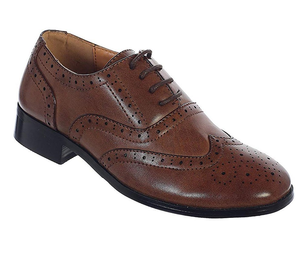Little Boys Brown Wingtip Lace up Closure Formal Oxford Dress Shoes Size 13