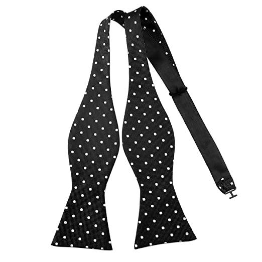 285c9a657722 Pensee Mens Self Bow Tie Black and White Polka Dot Jacquard Woven Silk Bow  Ties