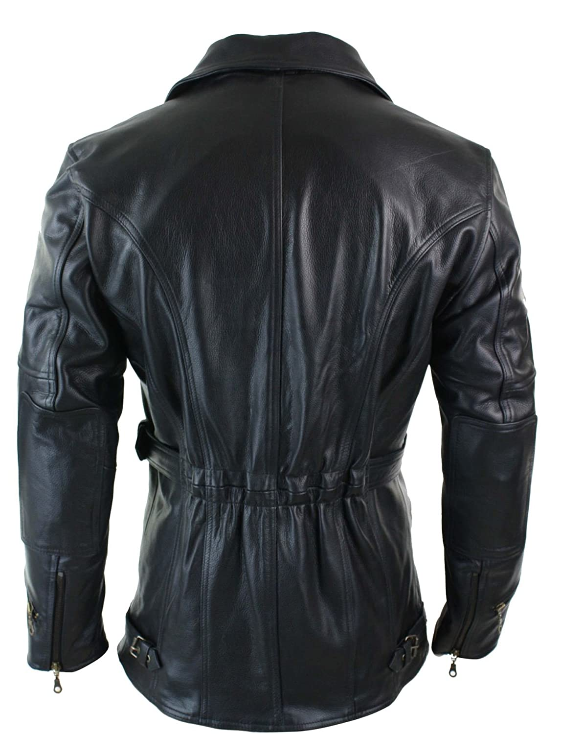 7520c9b18fd Mens Cross Zip Belted Black 3 4 Motorcycle Biker Long Leather Jacket CE  Armour  Amazon.co.uk  Clothing