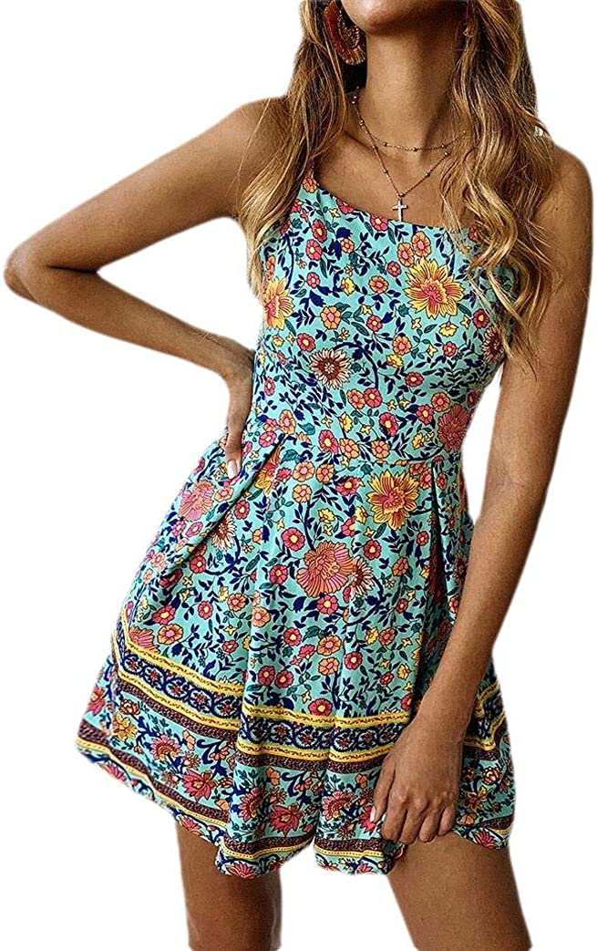 Comaba Womens Strappy Straps Fashion Fitted Playsuit Shorts Rompers
